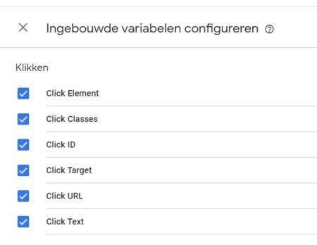 ingebouwde variabelen in google tag manager